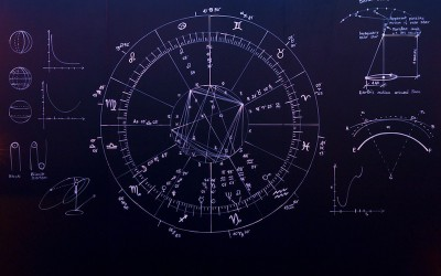 A fully immersive environment created by large scale chalkboards depicting hand drawn astronomy charts