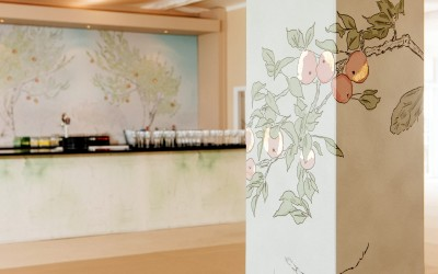 Hand drawn apple orchard illustrations for bar area, embellished with gold leaf