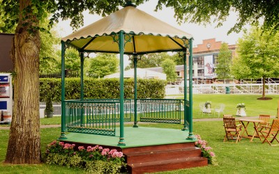 Green and gold bandstand