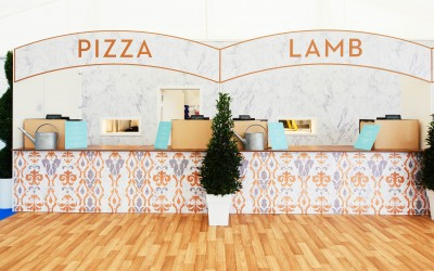 Horse inspired damask graphics for serving stations