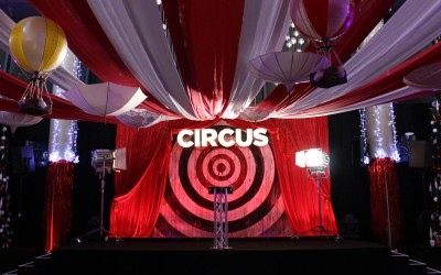 Vintage Travelling Circus stage set for Arsenal FC