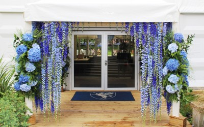 Floral curtain entrance feature