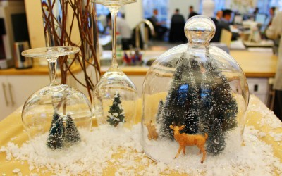 Snow globe scenes in glassware for  drinks reception